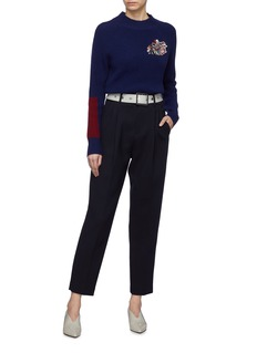 COMME MOI Contrast belted twill pants