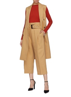 Comme Moi Belted sleeveless trench coat