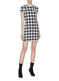 miu miu Logo appliqué checkerboard knit dress