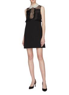 miu miu Pleated silk organza panel virgin wool sleeveless dress