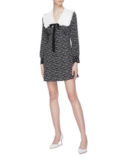 Miu Miu Ruffle tie yoke graphic print silk pussybow dress