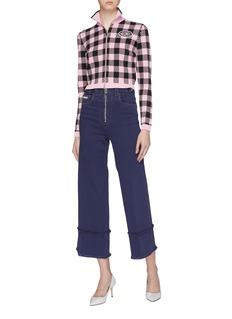 Miu Miu Frayed flared cuff jeans