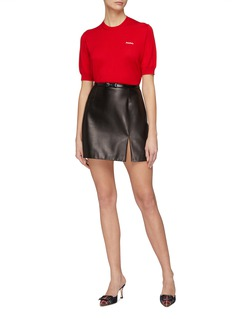 Miu Miu Masked watersnake bow belted leather mini skirt