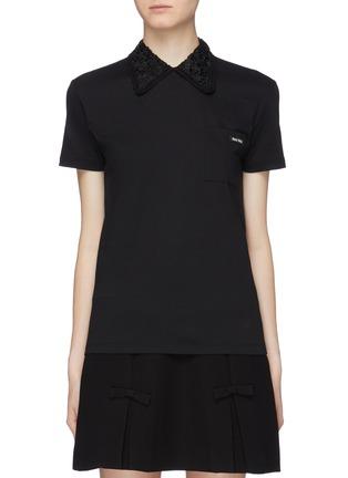 Miu Miu Star lace collar T-shirt 4a4070e751fae
