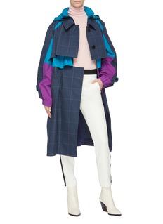 sacai Colourblock hooded windbreaker panel houndstooth check plaid coat