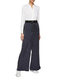 Sacai Pleated stripe outseam polka dot print pyjama pants