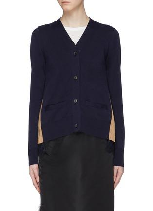 Main View - Click To Enlarge - Sacai - Lace hem pleated colourblock back cardigan
