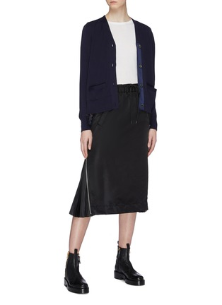 Figure View - Click To Enlarge - Sacai - Lace hem pleated colourblock back cardigan