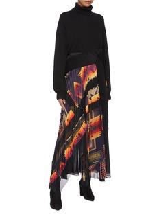 sacai x Pendleton graphic print panelled pleated skirt