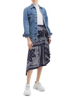 sacai Buckled asymmetric drape bandana print skirt