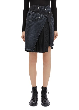 Main View - Click To Enlarge - sacai - Buckled pleated wrap panel denim skirt