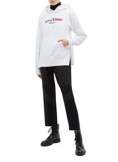 Sacai Spring Winter' slogan logo print zip outseam hoodie