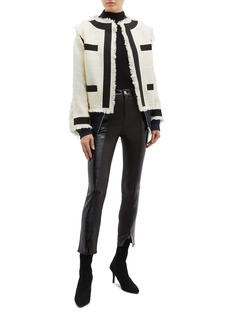 Sacai Contrast trim frayed tweed bomber jacket