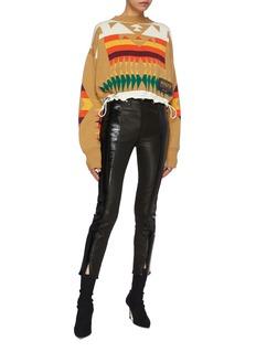 sacai x Pendleton drawcord hem graphic intarsia cropped sweater