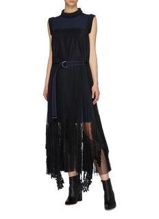 Sacai Belted plissé pleated lace trim tulle panel dress