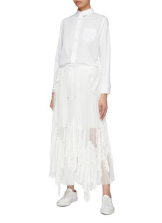 Sacai Pleated lace panel tulle drawstring skirt