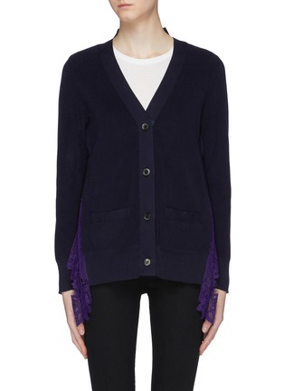 Main View - Click To Enlarge - Sacai - Pleated lace panel back cardigan