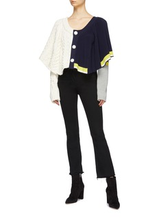 Sacai Drape colourblock mix knit cropped cardigan