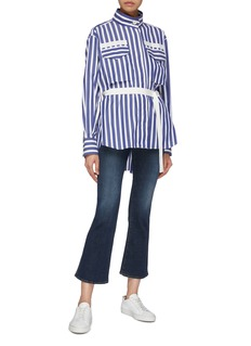 Sacai Belted cutout back stripe high neck shirt