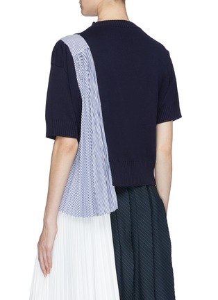 Back View - Click To Enlarge - sacai - Pleated stripe panel short sleeve sweater