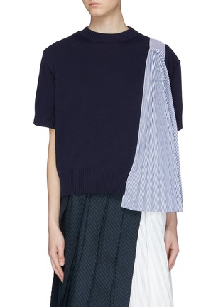 Main View - Click To Enlarge - sacai - Pleated stripe panel short sleeve sweater