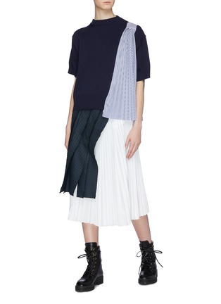 Figure View - Click To Enlarge - sacai - Pleated stripe panel short sleeve sweater