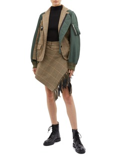 Sacai Buckled fringe wrap panel houndstooth check plaid shorts