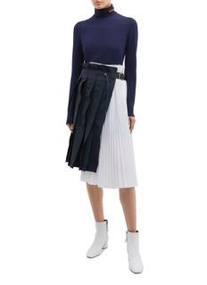 sacai Buckled drawstring colourblock pleated asymmetric skirt