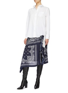 Sacai Pleated lace panel tulle back shirt