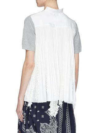Back View - Click To Enlarge - Sacai - Pleated lace panel tulle back short sleeve sweater