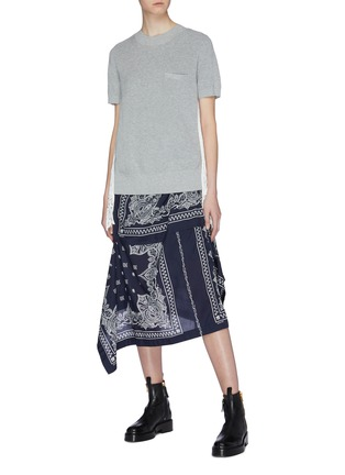 Figure View - Click To Enlarge - Sacai - Pleated lace panel tulle back short sleeve sweater