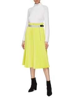 sacai Buckled drawstring pleated mesh skirt