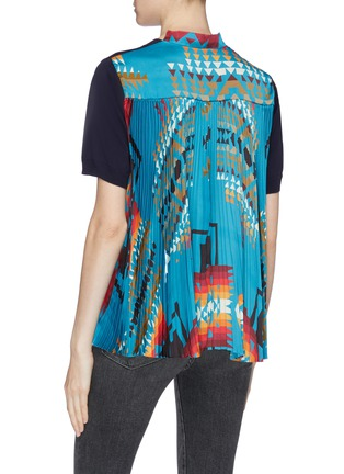 Back View - Click To Enlarge - sacai - x Pendleton graphic print pleated back short sleeve sweater