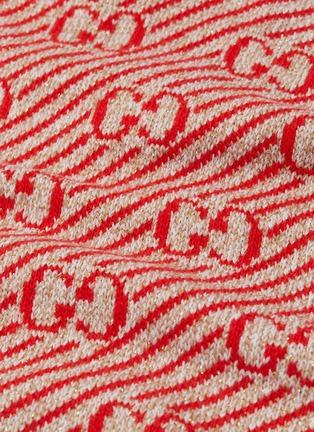- Gucci - GG metallic logo stripe oversized wool V-neck sweater