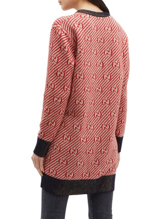 Back View - Click To Enlarge - Gucci - GG metallic logo stripe oversized wool V-neck sweater