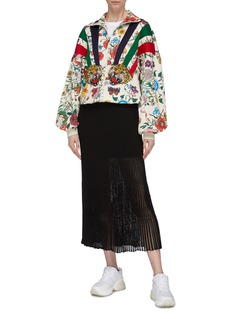 Gucci Tiger embroidered patch floral print high neck zip jacket