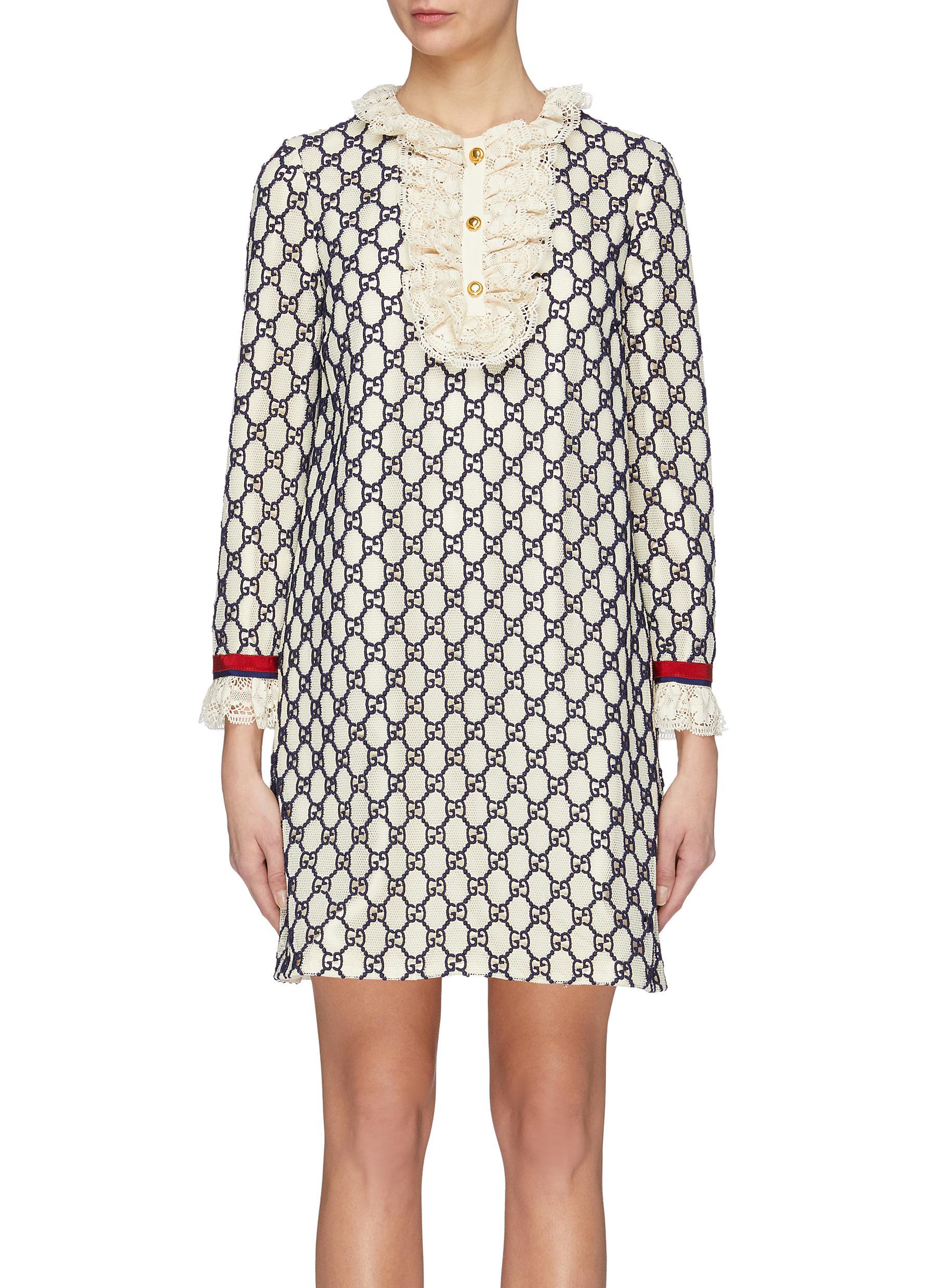 a8ffb583c3c3 Gucci. Lace bib GG macramé dress