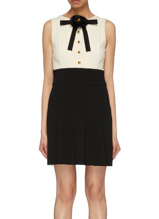 Main View - Click To Enlarge - Gucci - Colourblock pleated knit flower pussybow dress