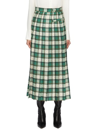 Main View - Click To Enlarge - Gucci - Buckled GG logo tartan plaid pleated maxi skirt