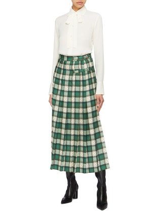 Figure View - Click To Enlarge - Gucci - Buckled GG logo tartan plaid pleated maxi skirt