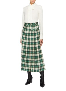 Gucci Buckled GG logo tartan plaid pleated maxi skirt
