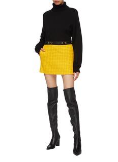 Gucci Horsebit belt tweed mini skirt