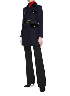Gucci Belted GG logo patch pocket wool coat