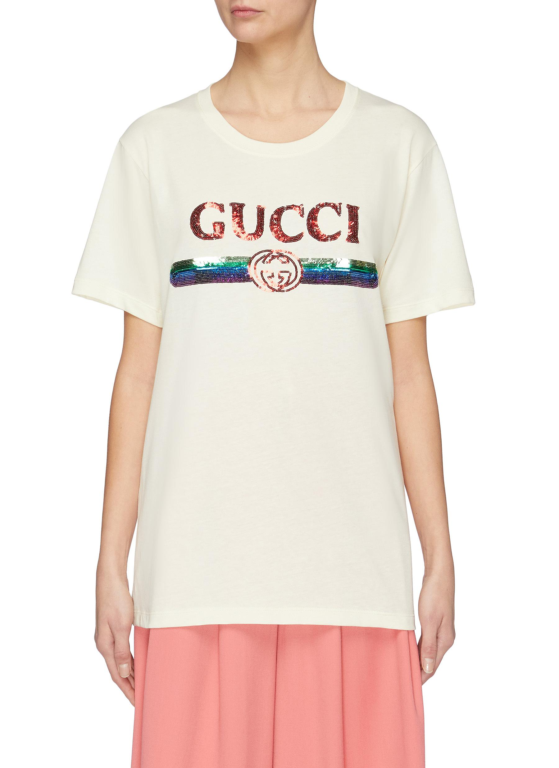 622722d45e0 Main View - Click To Enlarge - GUCCI - Sequin logo oversized T-shirt