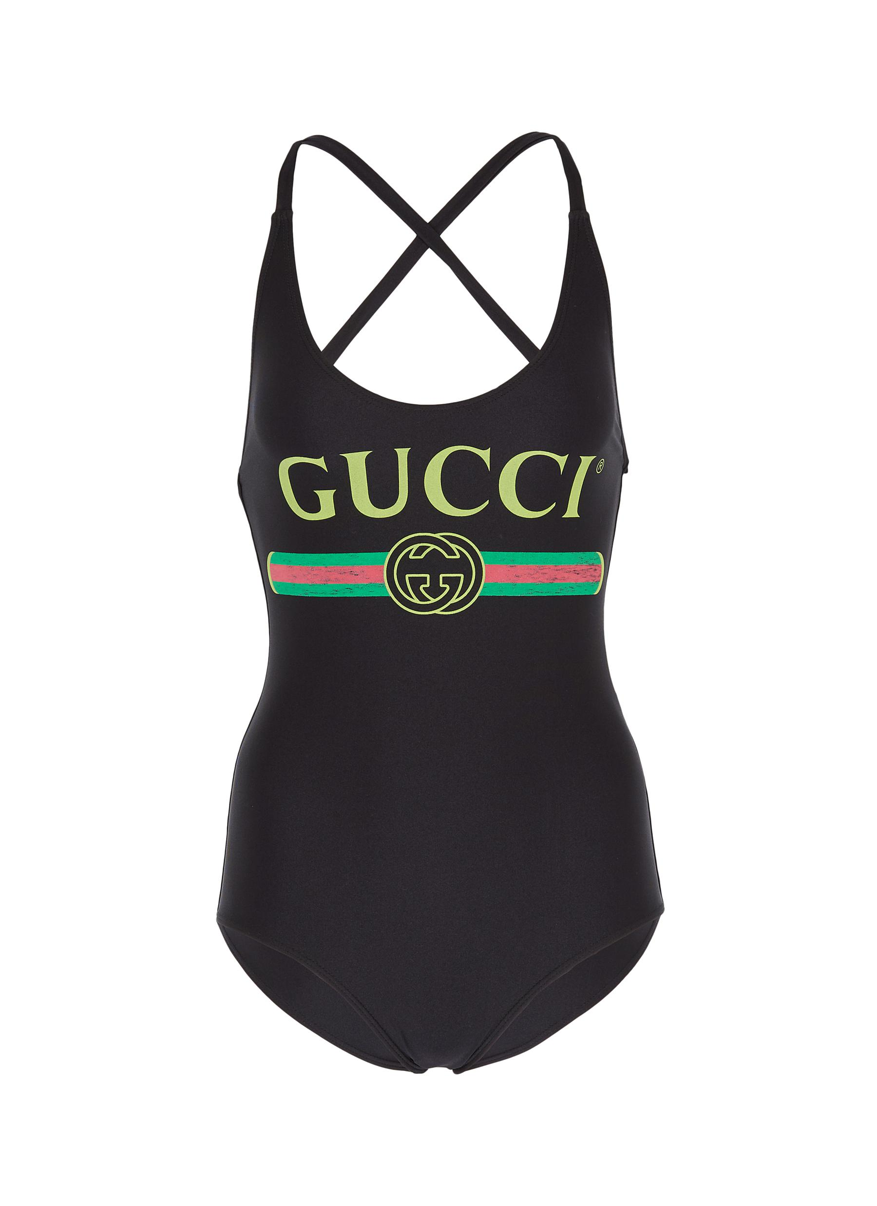 a58a64ef2e Main View - Click To Enlarge - Gucci - Logo print one-piece swimsuit