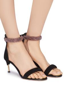 Alexander McQueen Pin heel strass ankle strap suede sandals