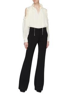 Chloé Ruffle tie neck cold-shoulder blouse