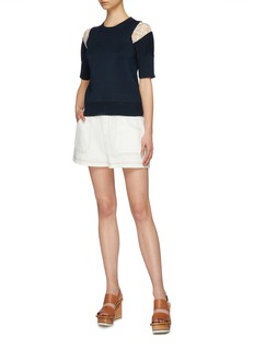 Chloé Floral embroidered lace panel knit top