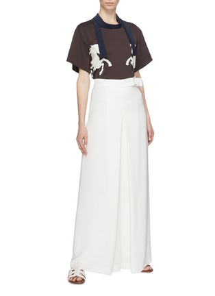 Figure View - Click To Enlarge - Chloé - Sash neck horse print T-shirt