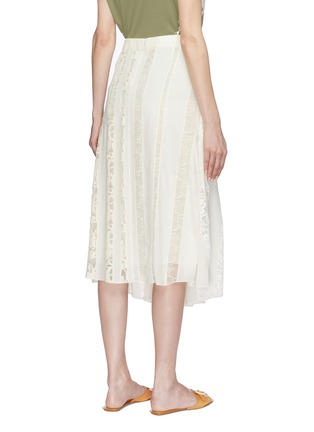 Back View - Click To Enlarge - Chloé - Logo lace insert silk chiffon skirt